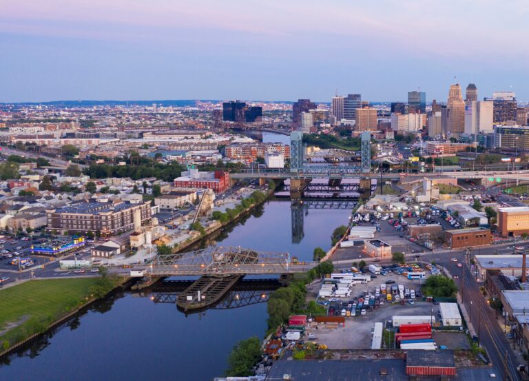 Dusk Falls on the Urban Downtown Metro Area of Newark New Jersey