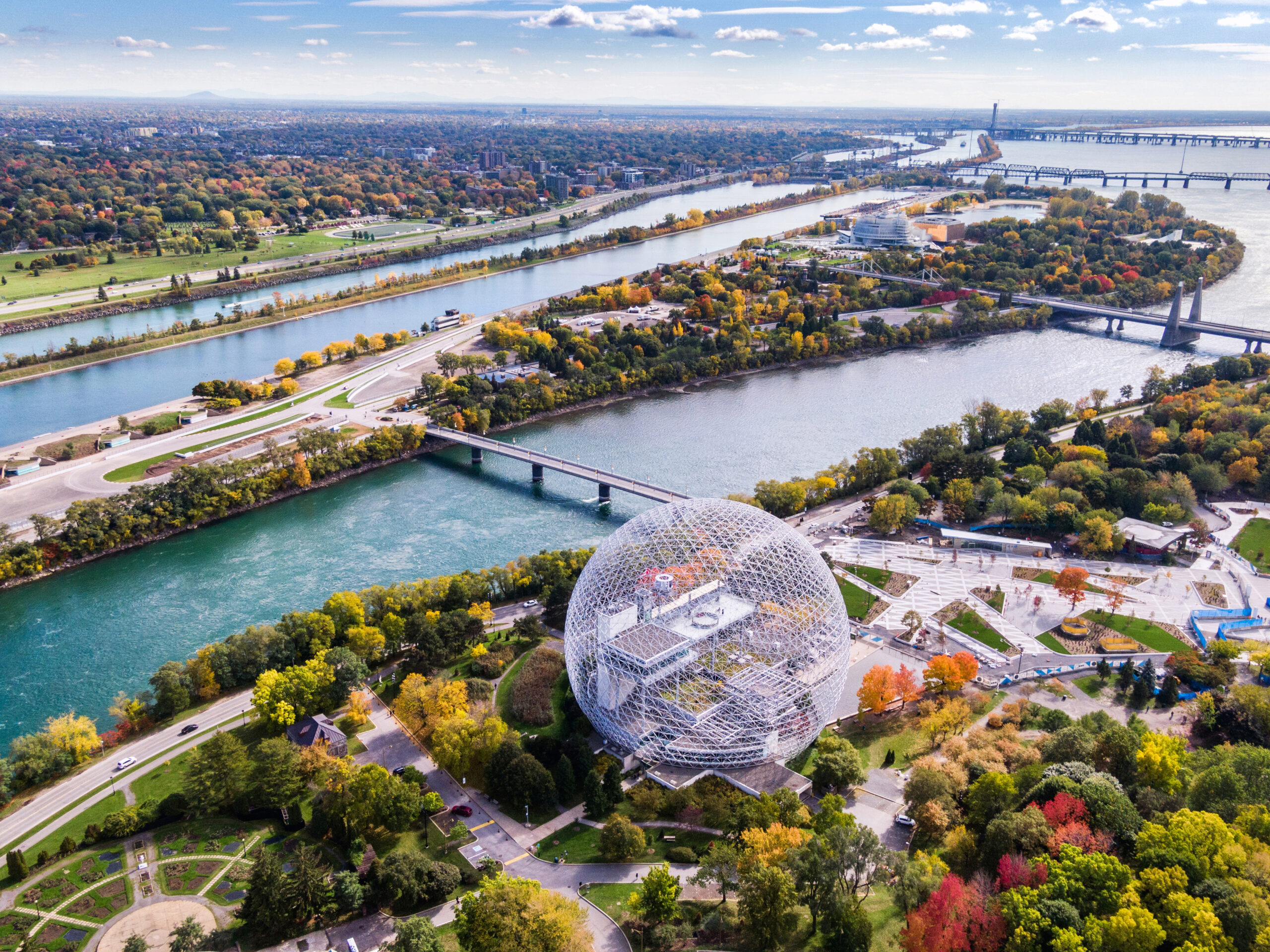 Aerial View of Montreal in Autumn Season, Quebec, Canada