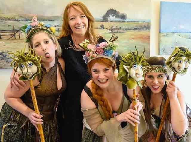 Gemma Lee Cross with naughty herd girls and their trolls at Peer Gynt performance in Taree.