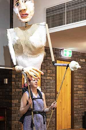 gigantic puppet handler