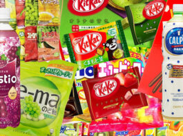 Compilation photo of Japanese snacks in photoshop