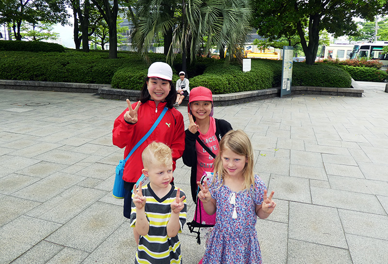 Practicing saying Okay in Japanese at Hiroshima