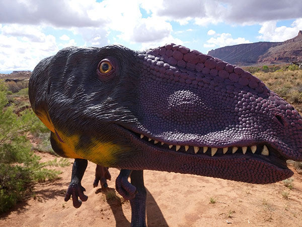 Close up view of Moab Giants Dinosaurs