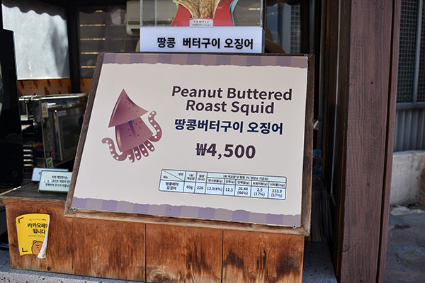 Peanut Buttered Roast Squid at Everland in South Korea