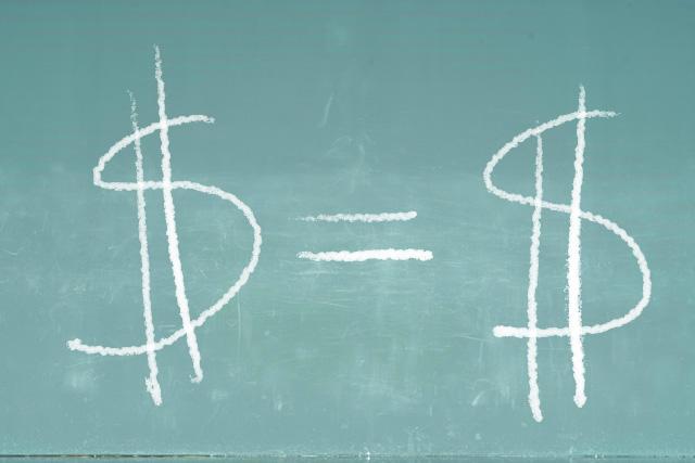 Money signs on a chalkboard