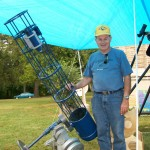 Society member Vic Wolfe displaying one of his many telescope creations.