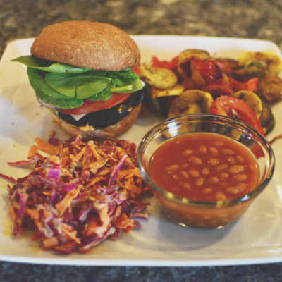 Plant-Based Grilling: Portobello Burgers, Coleslaw & Grilled Veggies