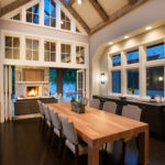 Dining area with and hewn beams