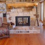 Lodge with douglas fir reclaimed wood floor