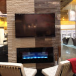 Entertainment area with platinum grey reclaimed wood