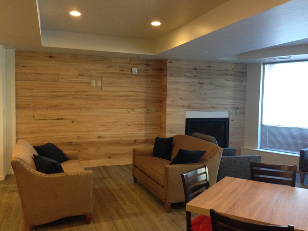 Wall of antique elm reclaimed wood