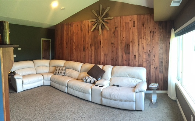 Wall with antique elm reclaimed wood