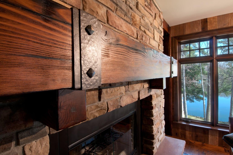 reclaimed wood mantel of douglas fir