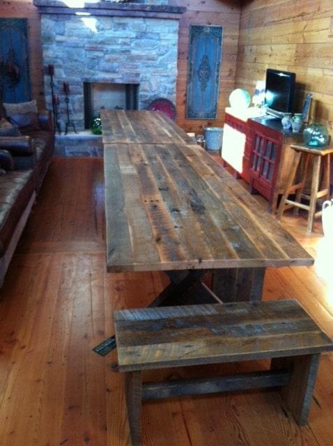 Original face reclaimed wood table top
