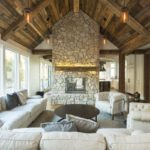 living room with weathered antique wood