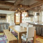 Dining area with hand hewn timbers