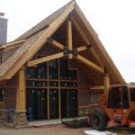 Cabin outside with reclaimed fir timbers