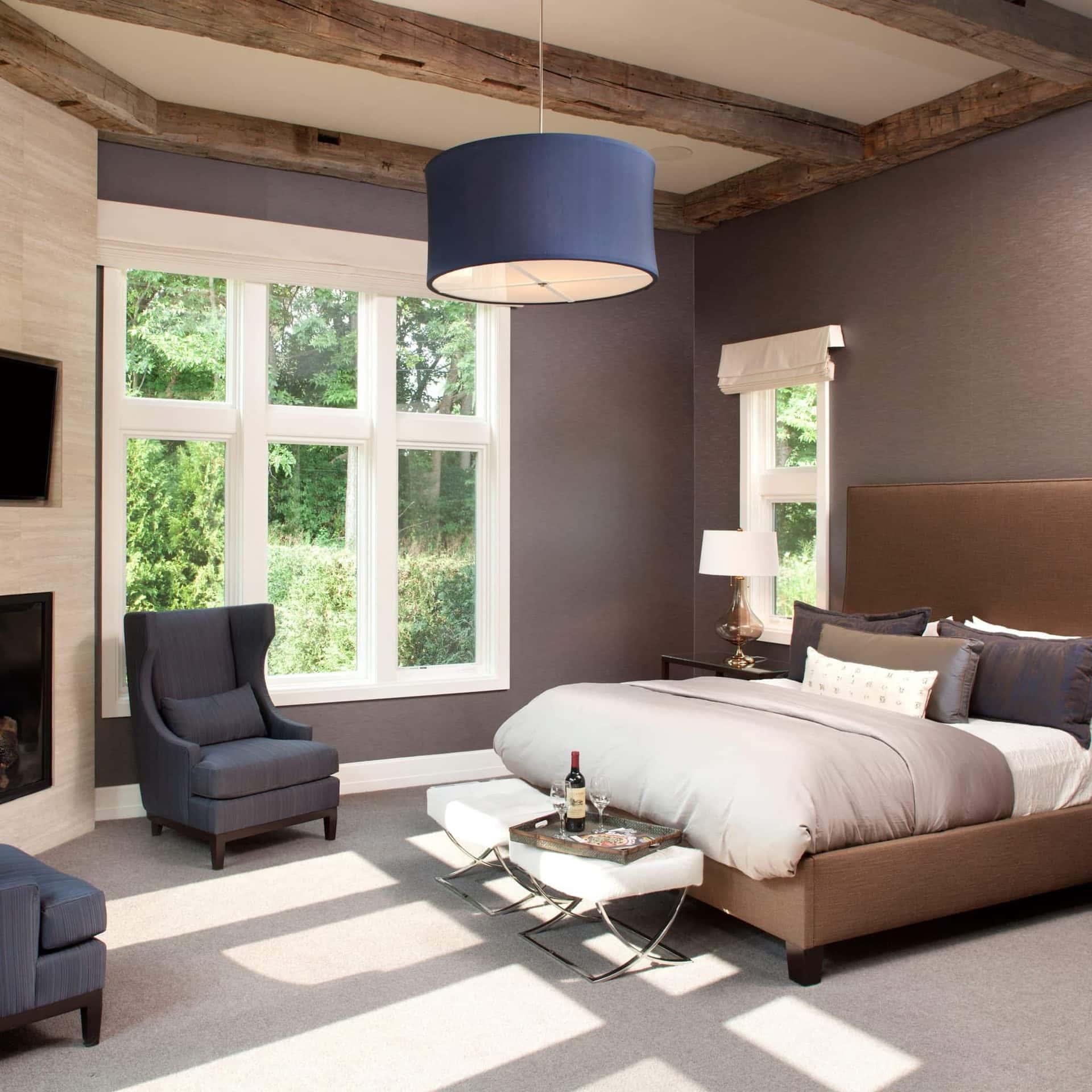 Reclaimed Wood Ceiling Paneling Bedroom