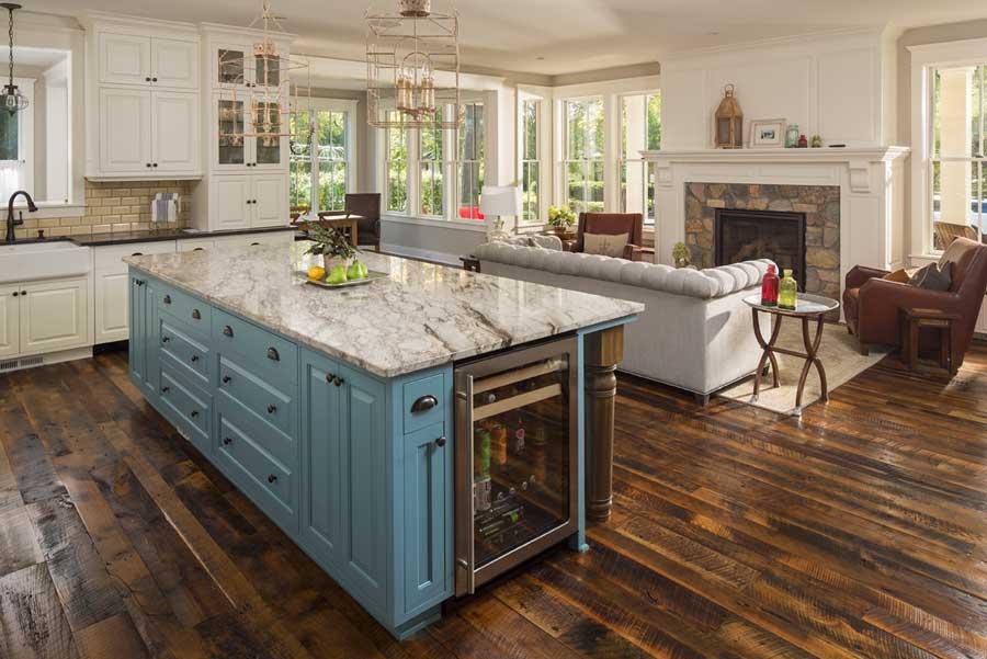 stunning remodeled kitchen; oak floor restoration