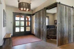 weathered gray barn wood entry way