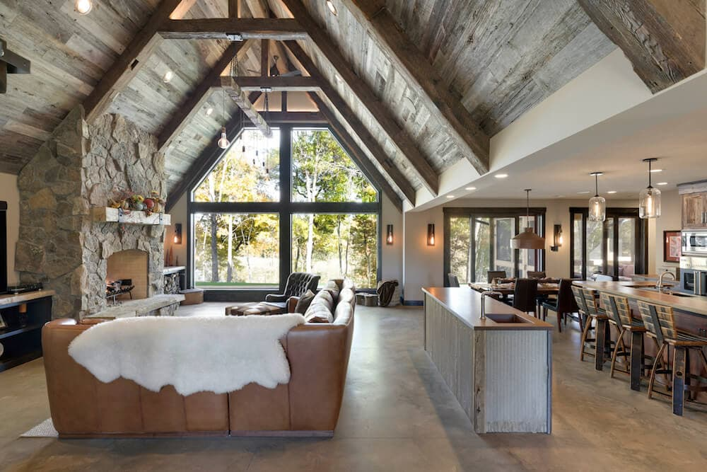 weathered gray barn wood in living room