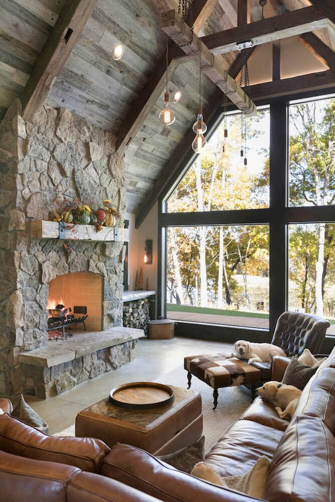 wooded living room