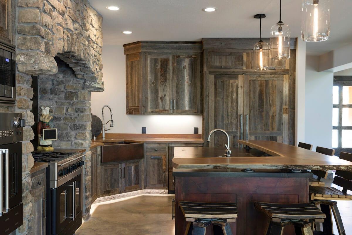modern kitchen with wood