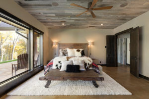 weathered gray barn wood ceiling by manomin resawn timbers