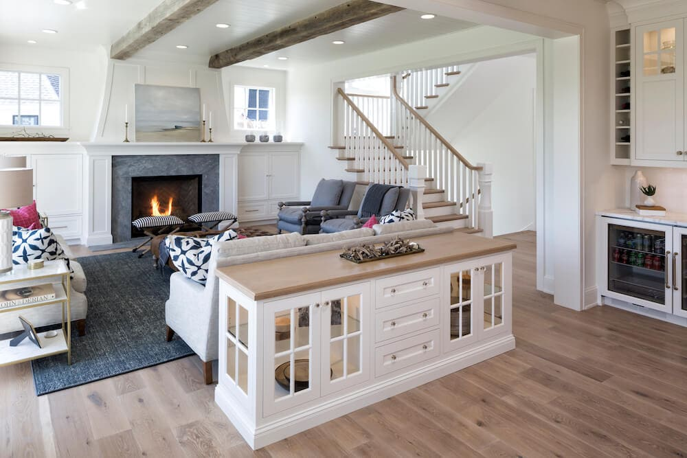 living room with reclaimed wood