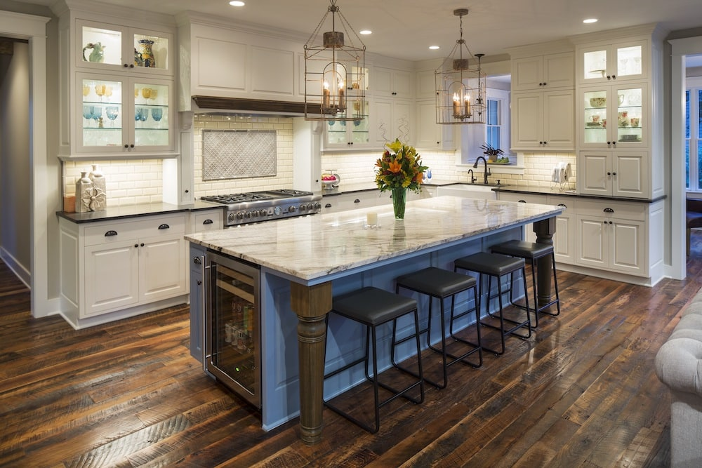 Kitchen with wood flooring and wood accents