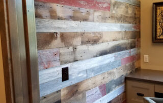 Reclaimed wood office wall.