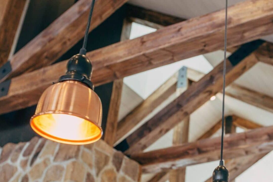 Accented wood beams with light fixtures