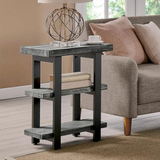 gray reclaimed wood end table