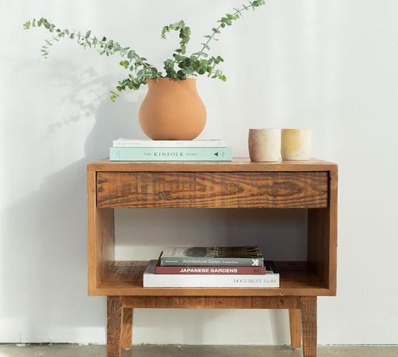 reclaimed wood table with plant and books on top