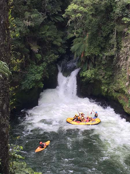 Watching a crazy rafting trip come down the waterfall!