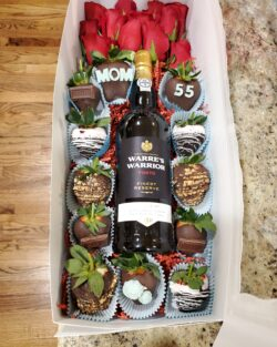 Dozen Roses Dozen of chocolate strawberries spirits