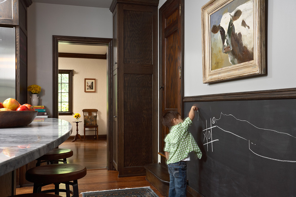 Chic-Framed-Chalkboard-fashion-Minneapolis-Eclectic-Kitchen-Decoration-ideas-with-chalkboard-wainscoting-chalkboard-wall-dark-stained-wood-