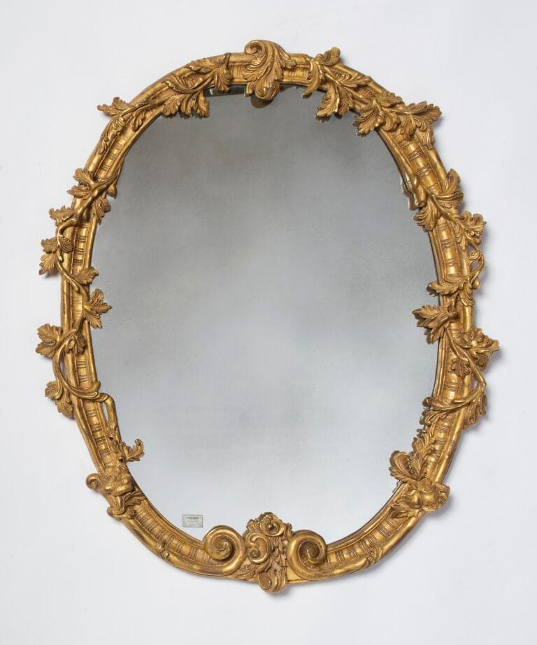 Hand carved 22k gold leaf gilded frame oval frame with vine