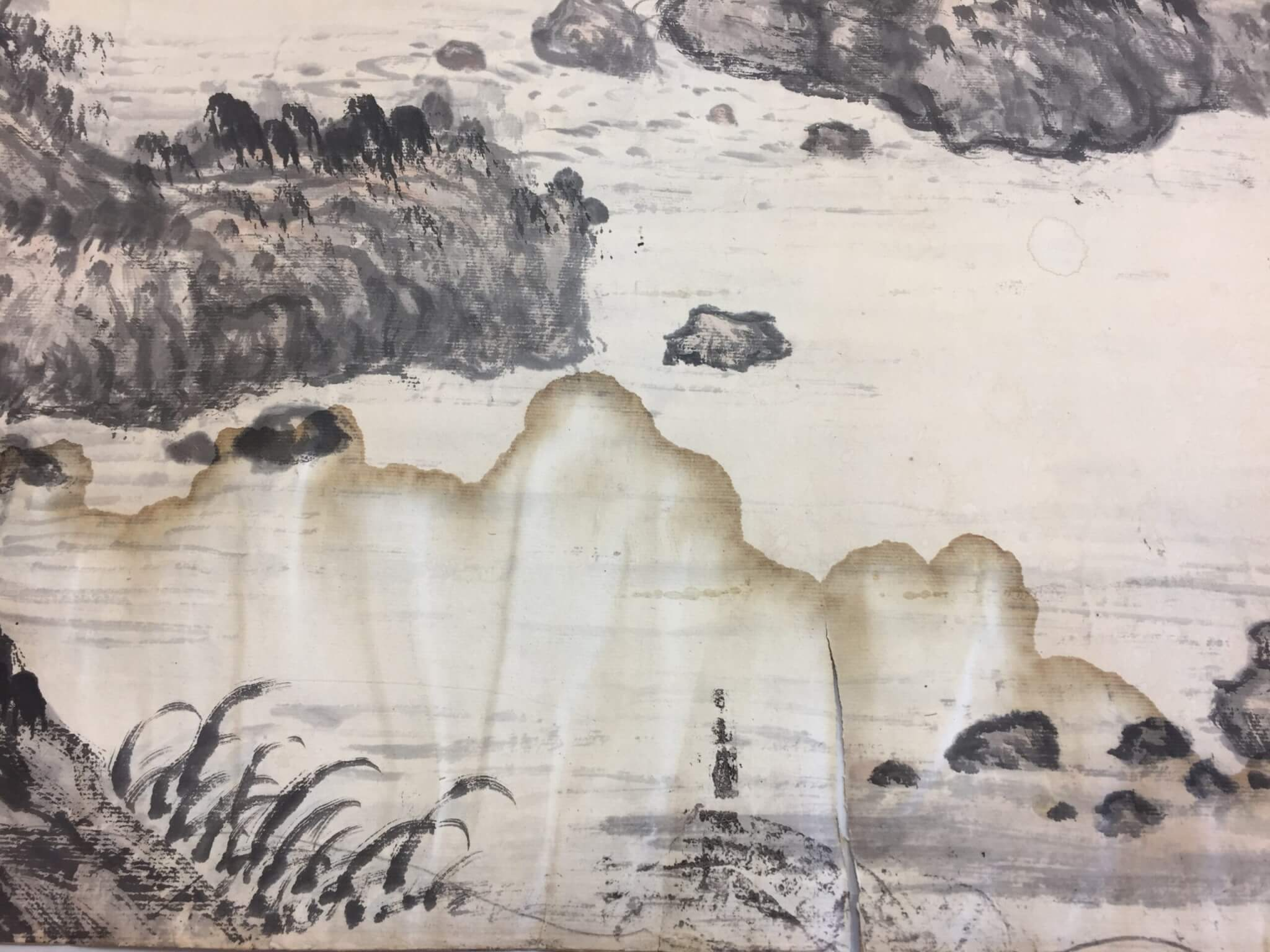 Conservation treatment of an ink drawing on paper, water damage restoration, works on paper, fine art, ink wash, documents, watercolor, gouache, newspapers, documents, books