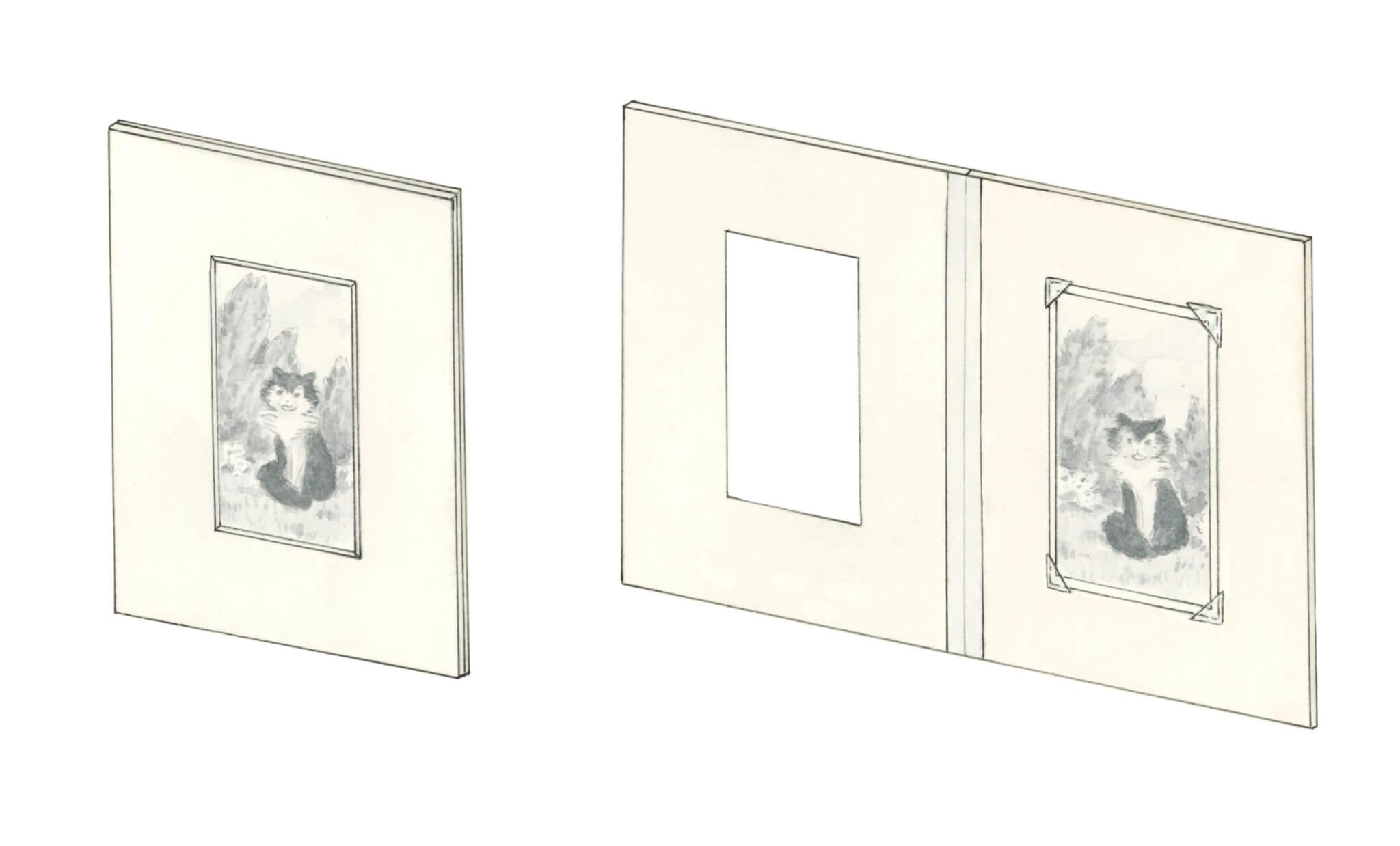 Book mat, archival housing for photographs, archival housing for fine art, archival housing for fine prints