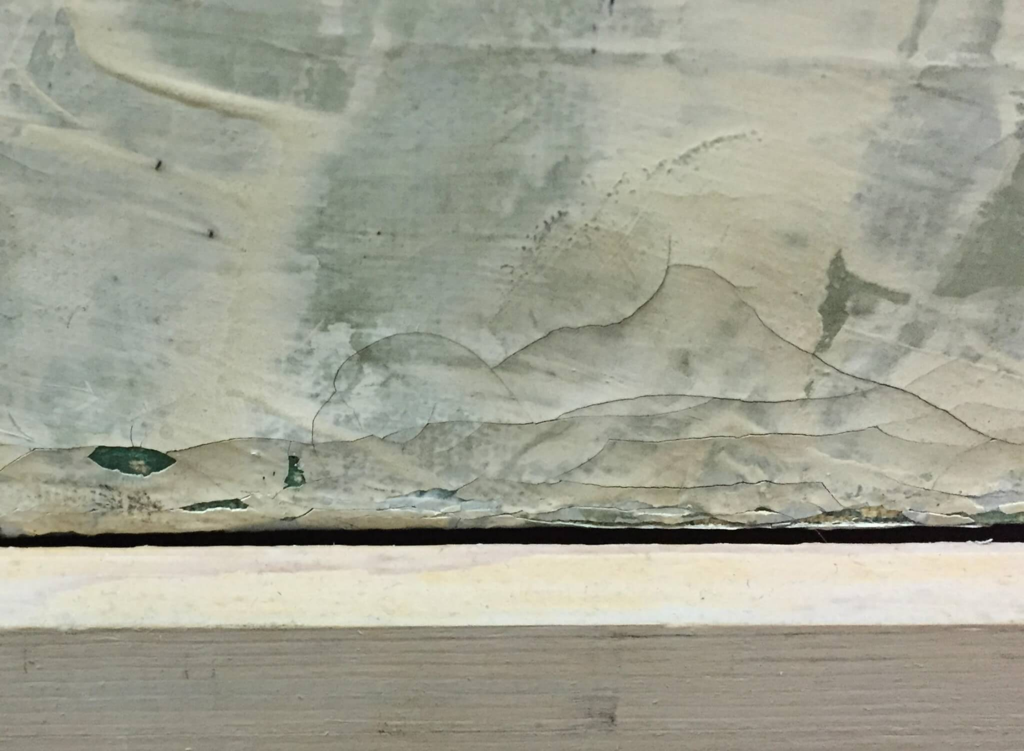 detail of paint loss caused by improper cleaning and dusting.  Artifact services chicago. Expert painting conservation. painting restoration