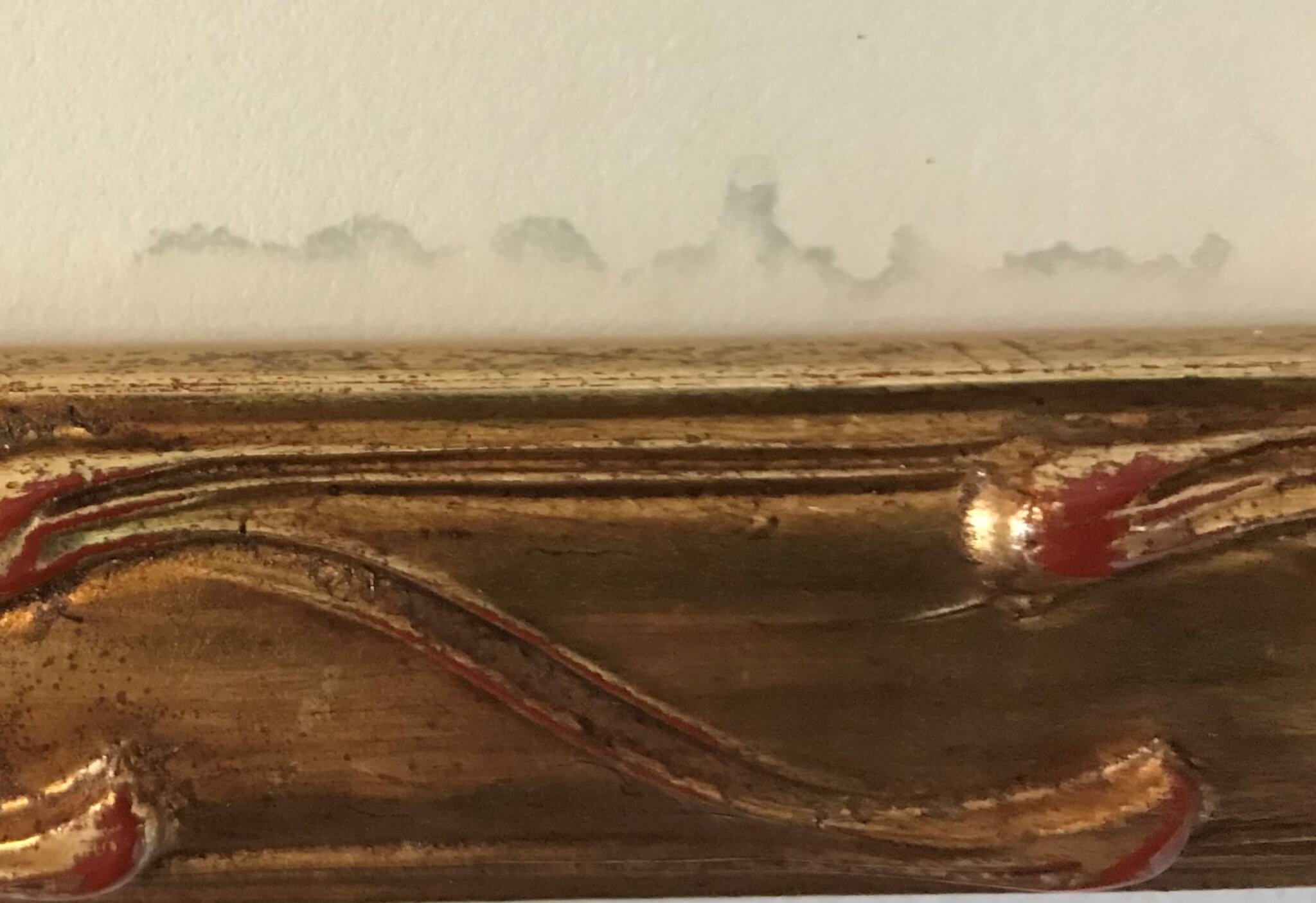 Damage caused by seepage from glass cleaner on a framed piece. Photograph restoration Heirloom restoration Archival picture framing Custom picture framing chicago Archival matting Museum framing services