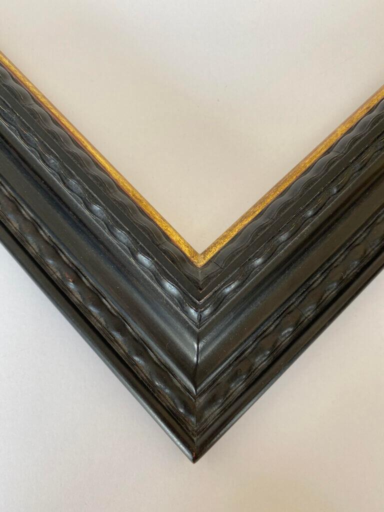 2 inch ebonized lack and 22k gold lip. artifact services april hann lanford dutch frame profile closed corner picture frame