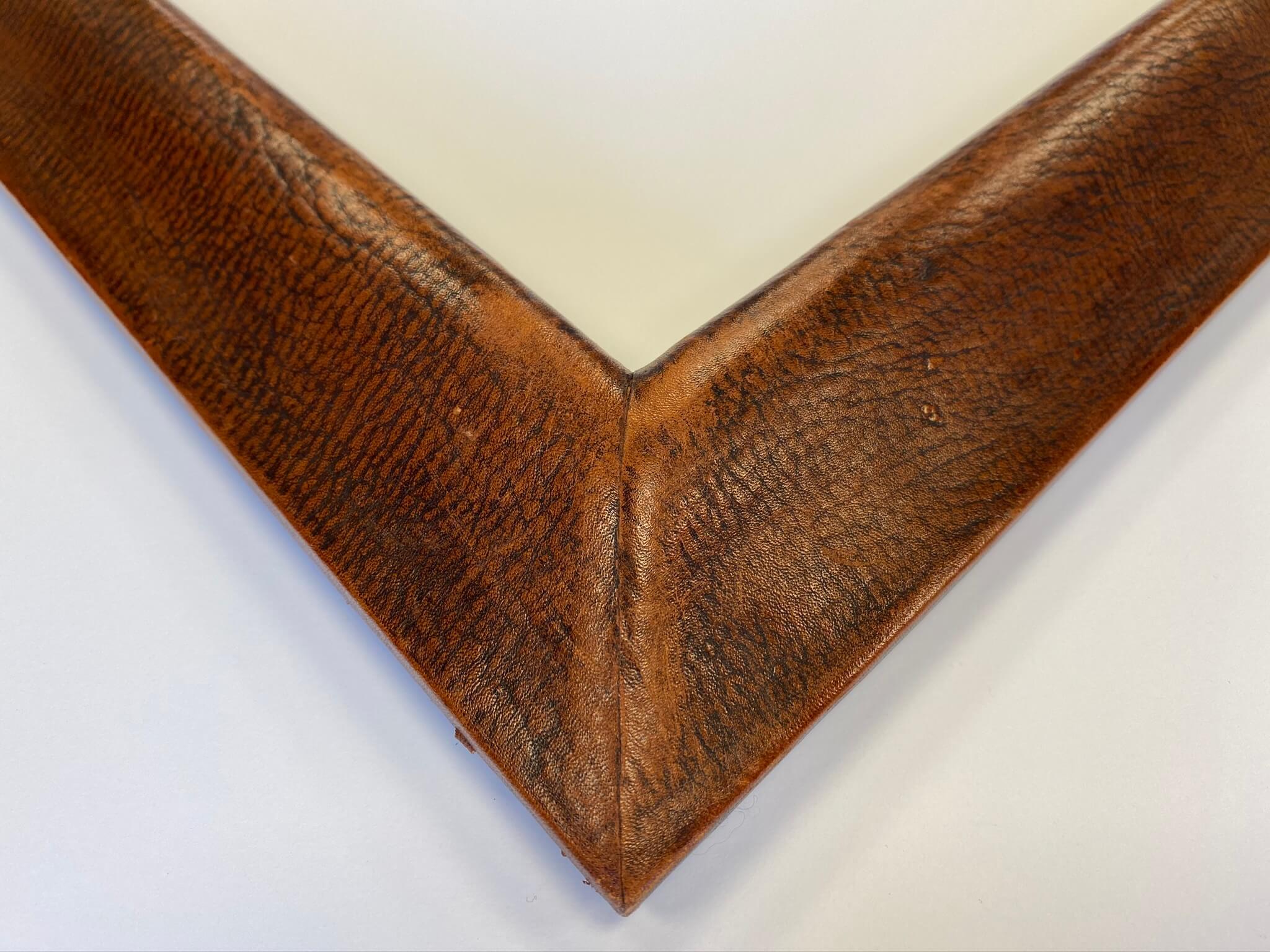 Aged brown leather custom frame chicago, custom frame nashville, April Hann Lanford Artmill Group