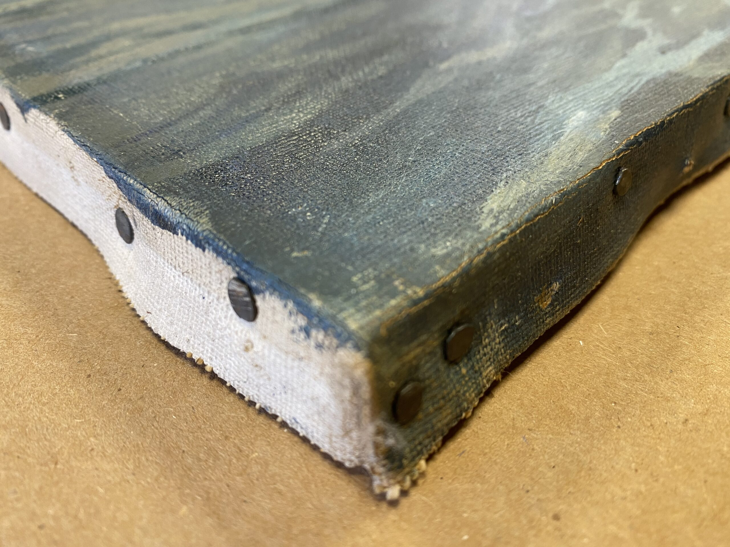 Canvas tacking edge with tacks, provenance clues and art industry insider tips of the trade. Provenance conservation, Artifact Services, April Hann Lanford
