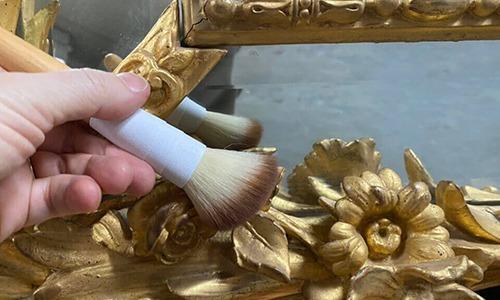 light dusting of antique gilded frame. Gilded frame. antique frame conservation. Frame repair. Picture frame repair. Frame restoration. Antique custom frames Gold frame repair Antique restoration antique conservation services chicago