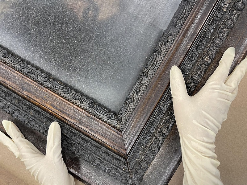 Antique frame restoration Painting conservation Gilded frame repair Wood refinishing Frame touch up Specialty contents services Artifact Chicago Insurance restoration Repair artwork Painting restoration Disaster response 19th century portrait  Gold leaf frame treatment cleaning of gilt frames Victorian antiques Fire damage Art recovery Onsite treatment Antique refinishing Insurance claims Museum frames Art rescue Art handling Packouts