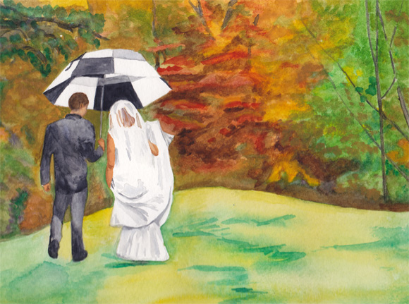 Commissioned Watercolors: Wedding Walk