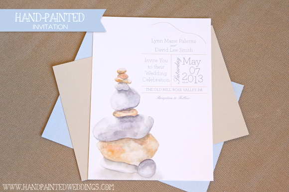 Rock Sculpture Invitation by Hand-Painted Weddings