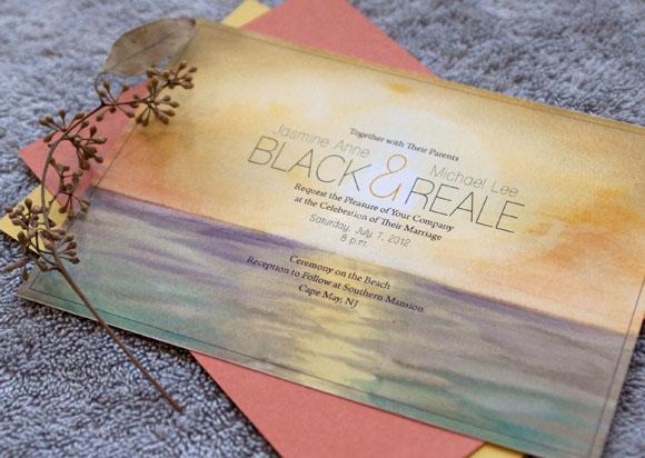 Hand-Painted Invitation: Sunset